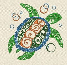 Turtle  machine embroidery designs by Froloffart on Etsy
