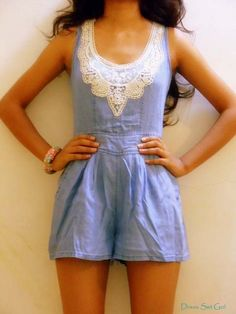 Denim play suit with lace.