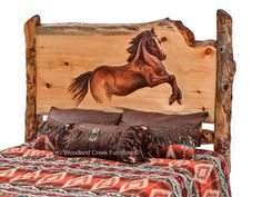 They say a picture is worth a thousand words. We agree. These photos of our hand carved log beds speak volumes. Each carving is meticulously hand carved the old fashioned with hand tools and a keen eye. No CNC routers Rustic Bedroom Sets, Lodge Bedroom, Rustic Bedding, Bedroom Ideas, Dream Furniture, Cabin Furniture, Horse Bedding, Rustic Outdoor Furniture, Log Cabin Designs