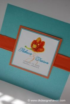 Invitations, Orange Turquoise