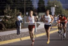 Bill Rodgers and Frank Shorter leading 1976 Olympic Trials Marathon in Eugene Oregon