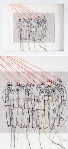 "nike schroeder - ""fundamental reports"" fab modern contemporary embroidery textile art tapestry"