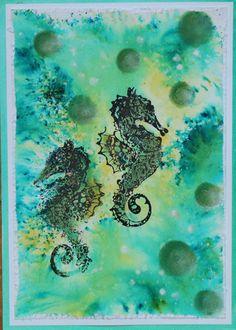 katzelkraft day - Under the sea, seahorse . Gestaltet mit 3D-Stempel-Farbe, Brusho, Gelli Platte, PamPastel und katzelkraft Rubber Stamps - Idee und Umsetzung Daniela Rogall