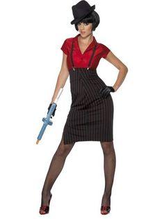 "/""Gangster Girl/"" Womans Fancy Dress Costume Size 8-22"