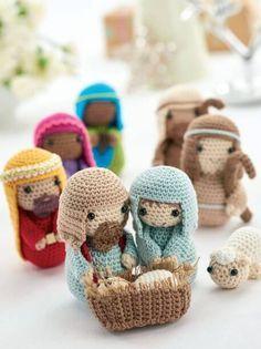 Free Crochet Nativity Scene Pattern Um pequeno e lindo presépio em Crochê. Amei!