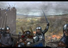 Attack and defense by Andrei-Pervukhin on DeviantArt Fantasy Warrior, Fantasy Battle, Fantasy Art, Medieval World, Medieval Knight, Medieval Fantasy, Medieval Drawings, Armadura Medieval, Vikings