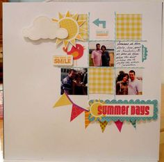 Summer days scrapbooking layout. Nice use of negative space.