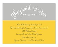They Said I Do yellow & grey post-wedding brunch invitation
