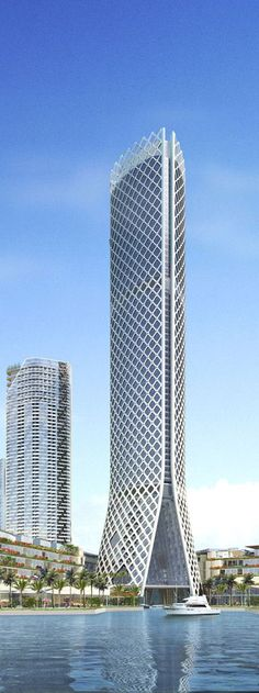 Tameer Commercial Tower, Al Reem Island, Abu Dhabi, UAE designed by Gensler Architects :: 74 floors, height 300 m :: on hold