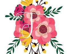T Initial Nursery Decor, Printable Art Print, Custom Monogram, Personalized Nursery, Baby Shower Decoration , Floral Letter, Floral Initial Printable Art, Printables, Tweety, Minnie Mouse, Disney Characters, Fictional Characters, Nursery, Baby, Monograms
