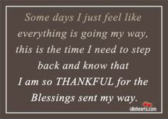 I'm Thankful for the Blessings Sent My Way