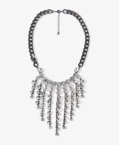 Rhinestone Fringe Chain Necklace - great way to spice up a casual outfit