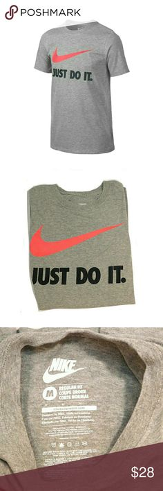 """MENS GRAY NIKE W/RED SWOOSH LOGO SHORT SLV TOP MENS GRAY NIKE W/RED SWOOSH LOGO SHORT SLV TOP  Never Worn RN#56323  SZ M Standard NIKE Sizing Approx. Chest Pit to Pit 41""""   Colors May Not be Exact due to Lighting or Ur Screen  Measurements Can be Interpreted Differently on How or Where U Measure Nike Shirts Tees - Short Sleeve"""