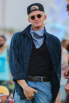 Cody Simpson clutched his crown jewels at the Coachella festival in California on Friday