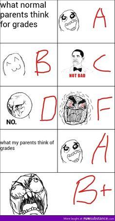 Funny memes - Grades and parents Funny School Jokes, Crazy Funny Memes, School Memes, Really Funny Memes, Funny Relatable Memes, Haha Funny, Funny Jokes, Hilarious, Funny Texts