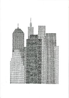 NYC. Typographic Skyline / handwritten by Adam Jankiewicz