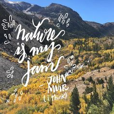 """281:: """"Nature is my jam"""" -John Muir (I think) // Back at it after a beautiful fall weekend in the Sierra Mountains! Matt and I are pretty sure this is an official quote from John Muir. Also thinking that I'm going to have to put this one on a shirt.  #emletters #lettereveryday"""