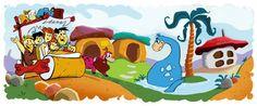 Yabba-Dabba Do! The Flintstones bestaat 50 jaar, logo van Google | WebSonic