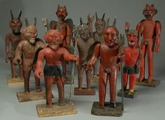 Nine vintage Guatemalan 'Lucifers', many with pitchforks, rooster feet and painted tin wings. Son Of The Morning, Morning Star, The Devil's Advocate, Art Carved, Naive Art, Sculpture, Outsider Art, Macabre, Occult