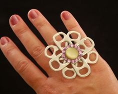 Bahahaha, so many ideas!  PopTab Ring  Supplies:  -ring  band  -3/4 inch diameter cardstock circle  -8 pop tabs  -button or flat bottomed gem  -strong glue (used: EC6000)  *Optional extra embelishments    Very Cute :)