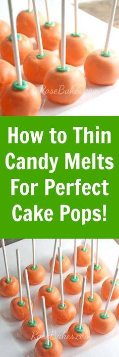 How to Thin Candy Melts for Perfect Cake Pops.add a little Wilton Candy Melts Ez Thin, crisco, coconut oil or paraffin wax. The Cheesecake Factory, Wilton Candy Melts, Cake Pop Icing, Oreo Cake Pops, Fall Cake Pops, No Bake Cake Pops, Apple Cake Pops, Pumpkin Cake Pops, Food Cakes