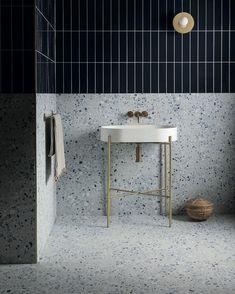 Mandarin Stone, Terrazzo Tile, Ceramic Wall Tiles, Porcelain Tiles, Bathroom Interior Design, Interior Walls, Interior Decorating, Small Bathroom, Bathrooms