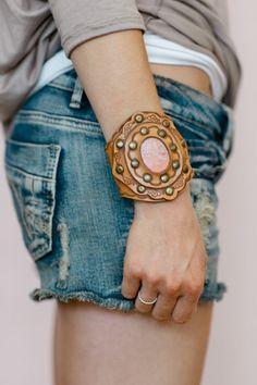 Boho Leather Bracelet Bohemian Hippie Leather door ThreeBirdNest, $88.00
