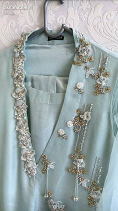 One side neck embroidery, hanging beads Embroidery On Kurtis, Kurti Embroidery Design, Hand Work Embroidery, Couture Embroidery, Embroidery Suits, Embroidery Fashion, Hand Embroidery Designs, Zardosi Embroidery, Stylish Dress Designs