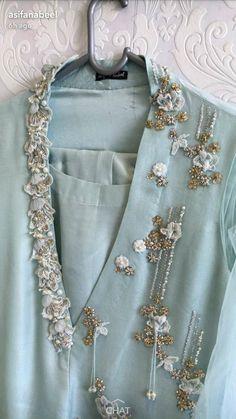 One side neck embroidery, hanging beads Zardosi Embroidery, Embroidery On Kurtis, Kurti Embroidery Design, Embroidery On Clothes, Hand Work Embroidery, Embroidery Suits, Embroidery Fashion, Hand Embroidery Designs, Kurta Designs