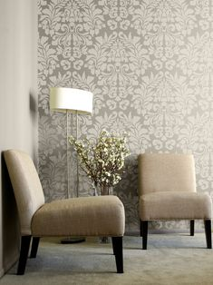 "Stencil design ""Large Fabric Damask"" from Royal Design Studio (wow—I thought this was wallpaper)"
