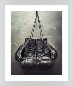 Boxing Gloves Framed Print, White, Contemporary, None, White, Single piece, 16 x 20 inches, White