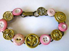 Antique button bracelet, all 1800s buttons