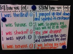 This could be a fun mini-lesson in showing and not telling! Provide your developing writers with the five sentences on the left. Do one together, and have them write sentences with the rest that really show their emotion!