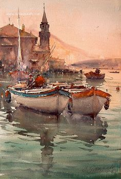 super ideas for painting watercolor sunset landscapes Watercolor Sunset, Art Watercolor, Watercolor Landscape, Landscape Paintings, Simple Watercolor, Watercolor Animals, Watercolor Background, Watercolor Flowers, Boat Art