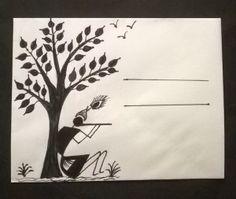 Warli envelopes -craft for kids Madhubani Art, Madhubani Painting, Worli Painting, Fabric Painting, Art Sketches, Art Drawings, Tribal Drawings, Contour Drawings, Simple Drawings
