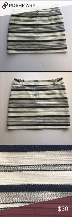 NWOT LOFT Textured Striped Skirt NWOT LOFT Textured Striped Navy and Cream Skirt. In mint condition. Never worn. Beautiful! 👗👛👠👙👕Bundle & Save 20% LOFT Skirts