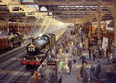 Fine Art Prints of Railway Scenes & Train Portraits - Summer Saturdays at Birmingham Snow Hill Station 1959 Hill Station, Train Station, Volkswagen 181, Train Miniature, Holland, Steam Railway, Train Art, Railway Posters, British Rail