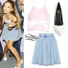 Ariana Grande met with fans at her concert in Paris wearing a pastel pink O'Mighty Velvet Halter Top ($44.00), a Topshop High Waisted Denim Look Skater Skirt ($35.00, sold out), and her favorite Saint Laurent Janis Platform Pumps ($775.00).