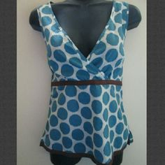 Boden Polka Dot Tank Top Excellent condition - no holes, stains or rips. US size 6 (the size 10 label is UK sizing). 100% cotton. Comes from a smoke free home.  No trades. No holds. Boden Tops Tank Tops