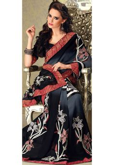 Black and Grey Faux Georgette Saree with Blouse