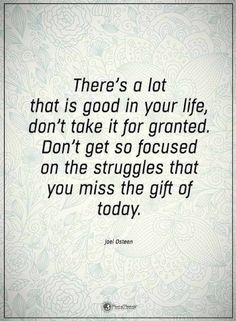 Quotes There is lot that is good in your life, don't take it for granted. Don't get so focused on the struggles that you miss the gift of today.
