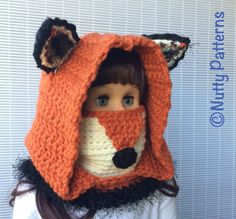 Crochet Patterns Fox Hooded Cowl Instant by nuttypatterns Crochet Hood, Crochet Baby, Baby Patterns, Crochet Patterns, Crochet Headband Pattern, Crochet Headbands, Nose Warmer, Kids Photo Props, Hooded Cowl
