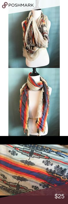 Tribal Print Scarf Super cute and versatile scarf! Purchased at Nordstrom. In perfect condition. Red, orange, blue, gray and black. Goes with so much!  23x75 inches bp Accessories Scarves & Wraps