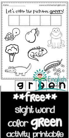 green color activity worksheet for preschool and kindergarten. Color the turtle, pear, frog, broccoli, alligator, iguana and peas green. Cut the letter tiles and form the word green Sight Word Activities, Color Activities, Red Crayon, Picture Tiles, Remember The Name, Blue Cups, Word Free, Activity Sheets, Sight Words