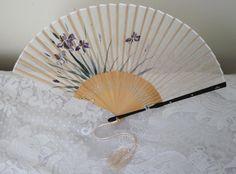 vintage silk hand fans   Vintage Japanese Silk Bamboo Fan Delicate Iris by cshort0319