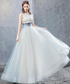 Cute tulle lace long prom dress 643c00bcc5d5
