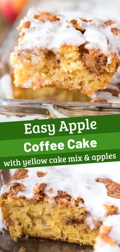 Easy Apple Coffee Cake Easy apple coffee cake made with yellow cake mix, fresh apples and lots of cinnamon sugar swirled in. This easy apple cinnamon cake will become your favorite fall cake and your house will smell like Cinnabon! Cinnamon Crumb Cake, Apple Crumb Cakes, Apple Coffee Cakes, Coffee Apple, Cinnamon Cupcakes, Apple Cake Recipes, Easy Cake Recipes, Dessert Recipes, Apple Recipes Easy