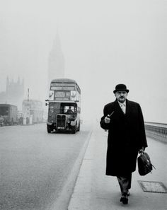 Westminster Bridge in smog, London, 1962.