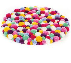 Pompon-Teppich selber machen Anleitung Mehr