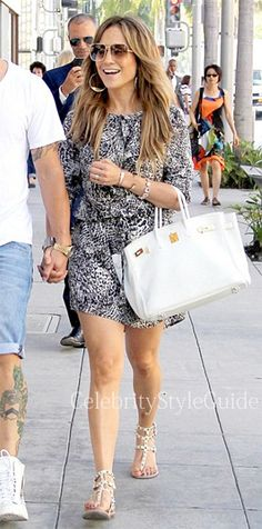 Jennifer Lopez in snake skin print mini shirt dress in Beverly Hills